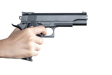 woman hand with a gun