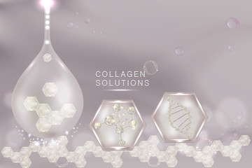 Collagen Serum drop with advertising background ready to use, luxury skin care ad. illustration vector.