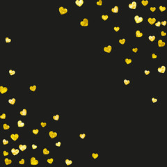 Valentines day border with gold glitter hearts. February 14th day. Vector confetti for valentines day border template. Grunge hand drawn texture. Love theme for party invite, retail offer and ad.