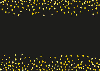 Valentines day frame with gold glitter sparkles. February 14th day. Vector confetti for valentines day frame template. Grunge hand drawn texture. Love theme for flyer, special business offer, promo.