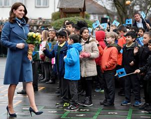 Britain's Catherine, The Duchess of Cambridge, visits Roe Green Junior School, Brent, London