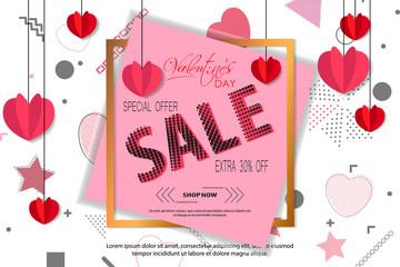 Valentines Day sale background. Vector illustration.