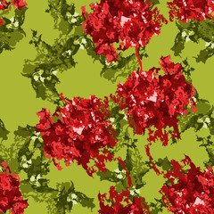 An unusual seamless pattern in the form of green and red figures on a green background