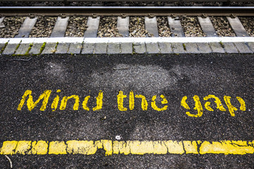 Mind The Gap Train Station Railway Tracks
