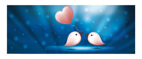 Ptaki transparent www z balonem serca. Walentynki s niebieskie tło