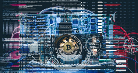 Bitcoin mining. Device for mining cryptocurrency. Machines for mining cryptocurrency. Computer circuit computer board. Double exposure business concept