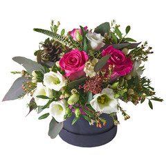 A bouquet of flowers in a beautiful packaging, assembled by a florist