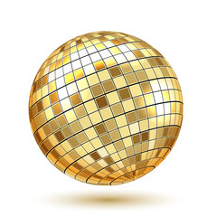 Golden Disco Ball on white background. Vector Illustration