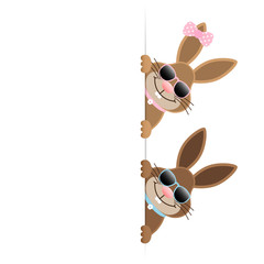 2 Easter Bunnies Boy & Girl Sunglasses On Top Banner