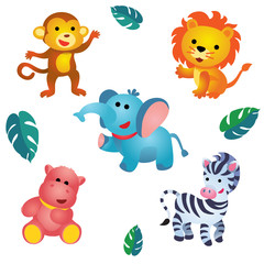 Five cute plush jungle animals / Cute plush monkey, lion, elephant, hippo and zebra are on white background