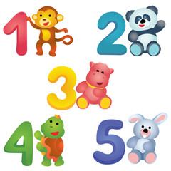 Numbers from 1 to 5 with plush animals / Colorful numbers from 1 to 5 with plush monkey, panda, hippo, turtle and bunny