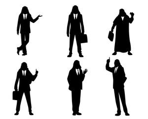 Six silhouettes of arab businessmen