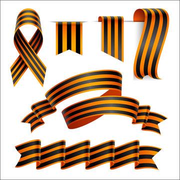 Set of St. George black and orange striped ribbon or banner. 9 May design element
