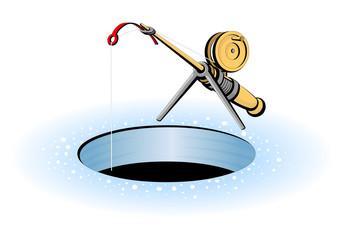 Short fishing rod for winter ice fishing.