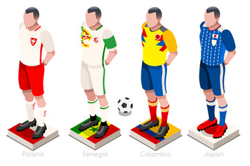 Soccer world cup a group of players with team shirts flags and ball. Isometric football vector illustration