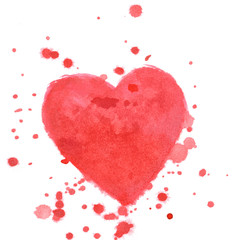 Red heart splash isolated on white background in watercolor