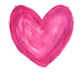 Pink heart in gouache isolated on white background