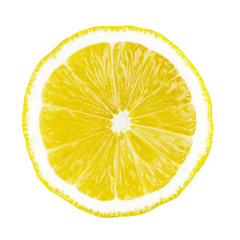 One round slice of yellow ripe lemon fruit, isolated on a white background, top view