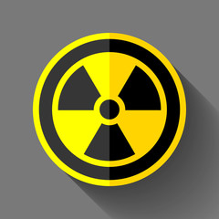 Radiation sign icon in flat style on gray background, toxic emblem, vector design illustration for you project