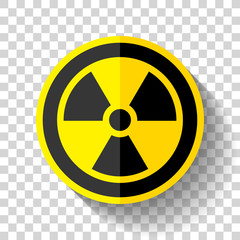 Radiation sign icon in flat style on transparent background, toxic emblem, vector design illustration for you project