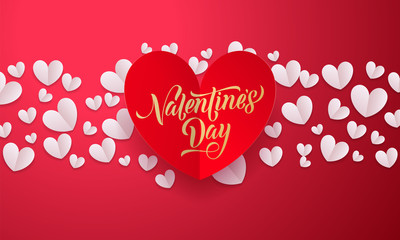 Vector Valentines Background With Romantic Red And Gold Paper Cut