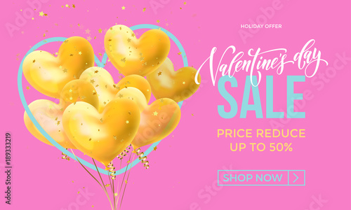 Valentines Day Sale Banner Design Template Of Heart Papercard On