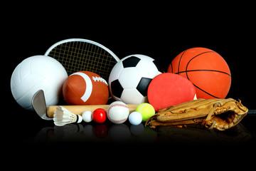 Sports Equipment on black background