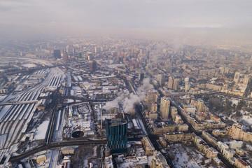 Aerial winter snowy cityscape. Kyiv, Ukraine.