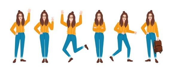 Young smiling woman dressed in blue jeans and yellow jumper in various postures. Hipster girl in different poses. Female cartoon character isolated on white background. Colorful vector illustration.