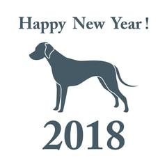 Dalmatian silhouette and inscription happy new year.