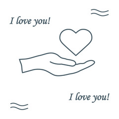 Cute vector illustration: hand holds heart. Love symbol.