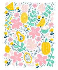 Exotic tropical fruits card