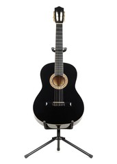 Black classical guitar with on a guitar stand isolated on white background.