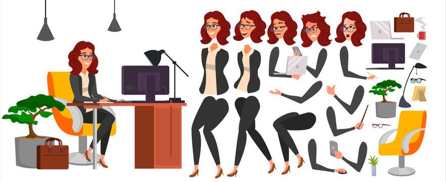 Business Woman Character Vector. Working Female Girl Boss. Office. Girl Developer. Animation Set. Attractive Lady Programmer, Designer. Emotions. Cartoon Illustration