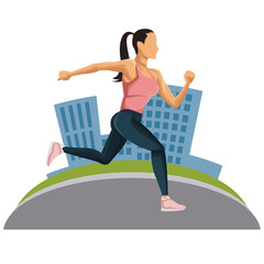 Woman running at city icon vector illustration graphic design