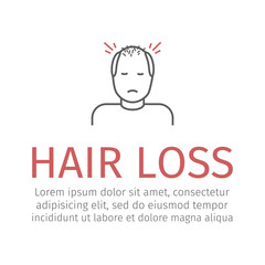 Hair Loss line. Vector sign for web graphic.