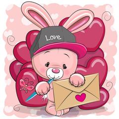 Valentine card with cute cartoon rabbit