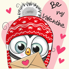 Valentine card with cute cartoon Penguin