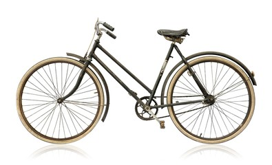 Old women's bike isolated on white background.