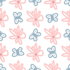 Cute seamless pattern with flowers and butterflies drawn by hand. Sketch, doodle, scribble.