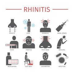Rhinitis. Symptoms, Treatment. Flat icons set. Vector signs.