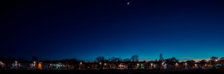 Fotomurales - homes and crescent moon - italian landscape panorama