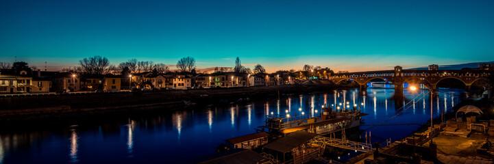 Fotomurales - beautiful river landscape - covered bridge over Ticino river at Pavia - italian landscape panorama