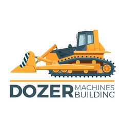 Mashines building promo poster with huge yellow dozer