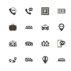 Taxi icons. Perfect black pictogram on white background. Flat simple vector icon.