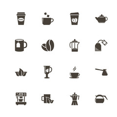 Tea and Coffee icons. Perfect black pictogram on white background. Flat simple vector icon.
