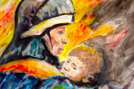 Painting Lifeguard day illustration. A Fireman with a baby in the background of fire. Watercolor and acrylic on paper. Area for text.