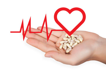 Medicine in hand with Heart pulse graphic.
