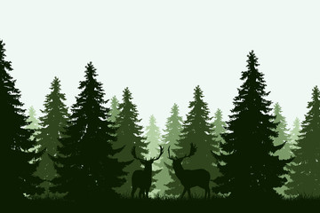 green deep forest with two deer - vector