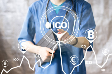 Doctor pushing button ICO Initial Coin Offering on chart healthcare network on virtual panel medicine